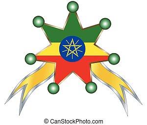 αιθιοπία , εθνικός , μετάλλιο , σημαία
