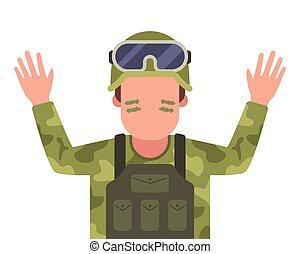αιχμαλώτισα , δικός του , ανάμιξη , στρατιώτης , surrenders., αίρω