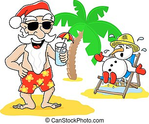 αι βασίλης, και , χιονάνθρωπος , σε , xριστούγεννα , αναμμένος άδεια , εις άρθρο ακρογιαλιά