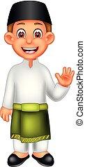 ακάθιστος , αγόρι , malaysian , ανεμίζω , χαμόγελο , γελοιογραφία , ωραία