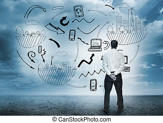 ακάθιστος , ατενίζω , επιχειρηματίας , επιχείρηση , flowchart