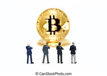 ακάθιστος , γενική ιδέα , μινιατούρα , αντιμετωπίζω , crytocurrencies, blockchain, ατενίζω , χαρτονομίσματα , ψηφιακός , bitcoin., επιχειρηματίας