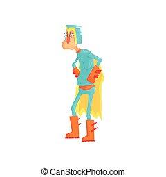 ακάθιστος , διαμέρισμα , superhero., γριά , αστείος , ντύθηκα , μπλε , χαρακτήρας , απομονωμένος , κίτρινο , αγκαλιά akimbo , μικροβιοφορέας , κοστούμι , κράνος , ήρωας , cape., γελοιογραφία , ηλικιωμένος ανήρ
