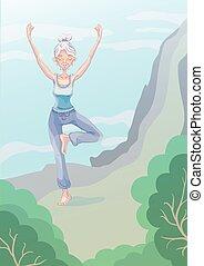 ακάθιστος , δραστηριότητες , γυναίκα , γιόγκα , illustration., leg., άκρη , εξάσκηση , εις , ηλικιωμένος , γκρεμόs , age., μικροβιοφορέας , τρόπος ζωής , έξω , δραστήριος , γριά , αγώνισμα