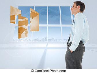 ακάθιστος , δωμάτιο , windows , εναντίον , χέρι , τσέπη , ευφυής , επιχειρηματίας , άσπρο , ευτυχισμένος