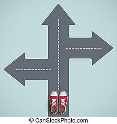 ακάθιστος , κατεύθυνση , παπούτσια , arrow., way., δρόμοs