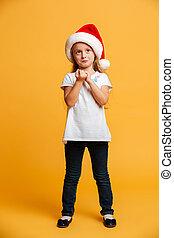 ακάθιστος , κουραστικός , απομονωμένος , προσεκτικός , santa , hat., κορίτσι , xριστούγεννα