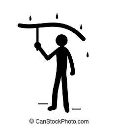 ακάθιστος , μικροβιοφορέας , ομπρέλα , εσωτερικός , βροχή , αλίσκομαι , εικόνα , ανθρώπινος , περίγραμμα
