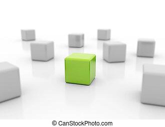 ακάθιστος , μονό , κύβος , πράσινο , έξω