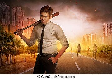 ακάθιστος , νυχτερίδα , ξύλινος , κάποια , νέος , μπέηζμπολ , zombies, αντιμετωπίζω , άντραs