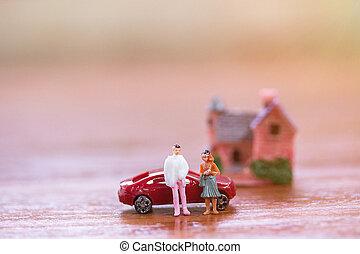 ακάθιστος , παιχνίδι , house., μινιατούρα , βήμα , επιχειρηματίας , people:, γυναίκεs