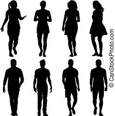 ακάθιστος , περίγραμμα , άνθρωποι , σύνολο , μαύρο , διάφορος , διατυπώνω