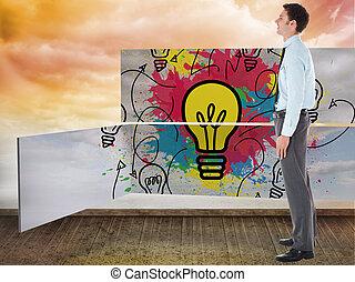 ακάθιστος , τοίχοs , ουρανόs , εναντίον , χέρι , τσέπη , πορτοκάλι , επιχειρηματίας , χαμογελαστά