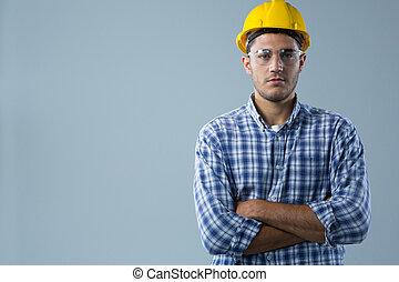 ακάθιστος , φόντο , εναντίον , αρσενικό , ανάποδος αγκαλιά , άσπρο , αρχιτέκτονας