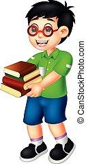 ακάθιστος , χαριτωμένος , αγόρι , φέρνω , βιβλίο , χαμόγελο , γελοιογραφία