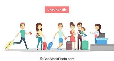 ακάθιστος , desk., check-in , αεροδρόμιο , άνθρωποι