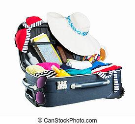 ακάλυπτη θέση βαλίτσα , γεμάτος , από , ρουχισμόs