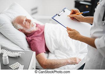 ακάνθουρος γράφω αναμμένος clipboard , χρόνος , ασθενής , ακινησία , αναμμένος κρεβάτι