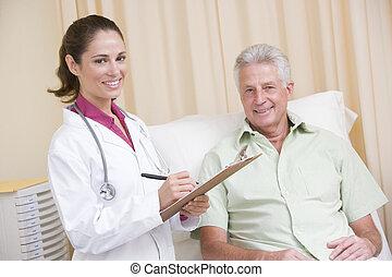 ακάνθουρος γράφω αναμμένος clipboard , χρόνος , χορήγηση , γενική εξέταση υγείας , να , άντραs , μέσα , διαγώνισμα δωμάτιο , χαμογελαστά