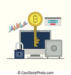 ακίνδυνος , bitcoin, desktop ηλεκτρονικός εγκέφαλος , closeup , κλειδί , login