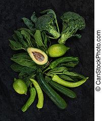 ακατέργαστος , πέτρα , λαχανικά , ασβέστηs , πιπέρι , φόντο , σκοτάδι , αβοκάντο , zuccini, σπανάκι , πράσινο , set., μπρόκολο