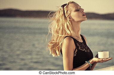 ακινησία , γυναίκα , ferry's, πίνακας , αισθησιακός , ελκυστικός