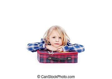 ακινησία , εναντίον , φόντο , βαλίτσα , κορίτσι , άσπρο