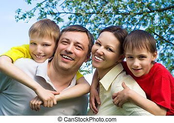 ακινησία , χαμογελαστά , οικογένεια , ευτυχισμένος