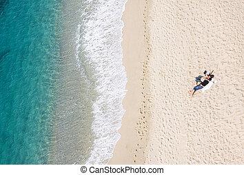 ακινησία , copyspace , παραλία , μπόλικος , ζευγάρι , νέος , τροπικός , βλέπω