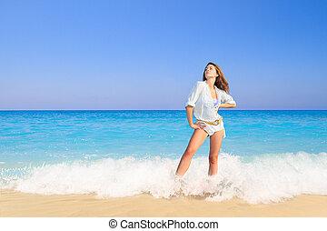 ακμή άδεια , γυναίκα , επάνω , παραλία
