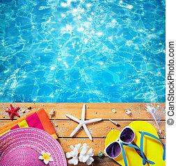 ακμή άδεια , - , παραλία , εξαρτήματα , με , κερδοσκοπικός συνεταιρισμός , φόντο
