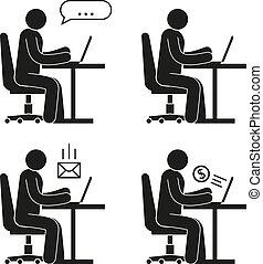 ακολουθία ακόλουθοι , laptop , κάθονται , αναλόγιο έδρα , εικόνα