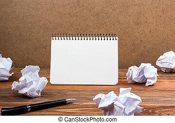 ακολουθία απειροστική έκταση , μπλοκ , χαρτί , κενό , worplace., άσπρο , αντίγραφο , βιβλίο