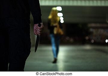 ακολουθία , γυναίκα , μαχαίρι , άντραs