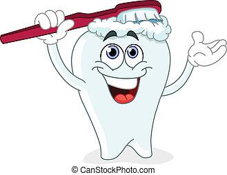 ακουμπώ , δόντι