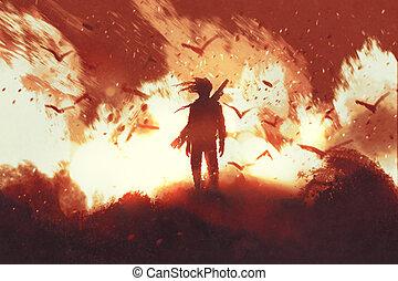 ακουμπώ , φωτιά , εναντίον , φόντο , άντραs