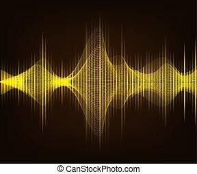ακούγομαι , χρυσαφένιος , illustration., καφέ , κύμα , σκοτάδι , φόντο. , μικροβιοφορέας , tecnology, λαμπερός
