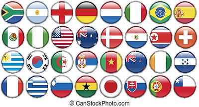 ακούραστος εργάτης , κουμπιά , από , εθνικός , σημαίες