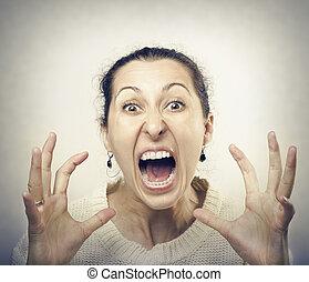ακράτητος , γυναίκα , screaming.