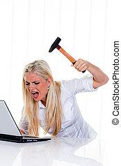 ακράτητος , συντρίβω , για , γυναίκα , laptop