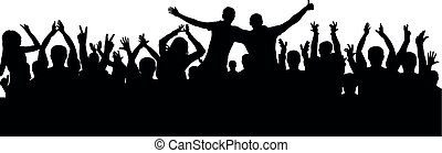 ακροατήριο , όχλος , άνθρωποι , επευφημώ , silhouette., ιλαρός , μικροβιοφορέας