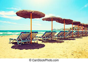 ακρογιαλιά άδεια , θάλασσα , concept., costa , sol., ...