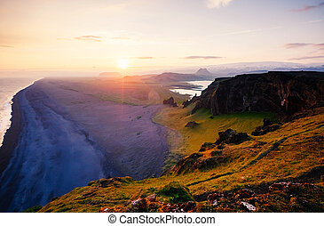 ακρογιαλιά. , iceland., άμμοs , λάβα , καταπληκτικός , εύρεση , μαύρο , dyrholaey, ακρωτήριο