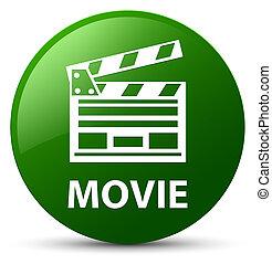 ακροτομώ , ταινία , κουμπί , στρογγυλός , πράσινο , icon), (cinema