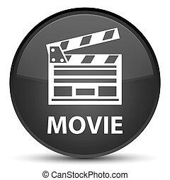 ακροτομώ , ταινία , κουμπί , icon), μαύρο , ειδικό , στρογγυλός , (cinema