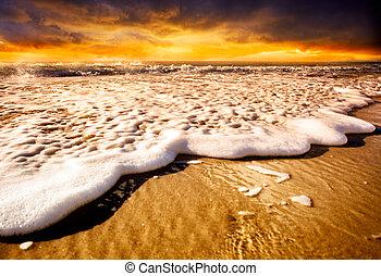 ακτή , ηλιοβασίλεμα