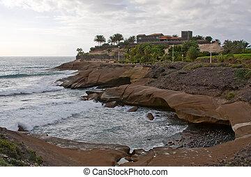 ακτή , las , παραλία , tenerife , americas