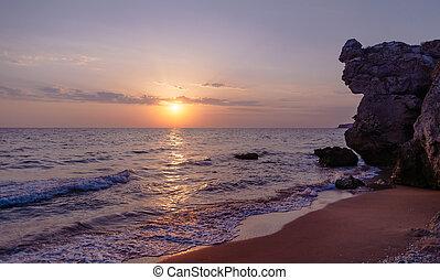 ακτογραμμή , θάλασσα , sunset.