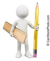 ακόλουθοι. , χάρακαs , μολύβι , 3d , άσπρο