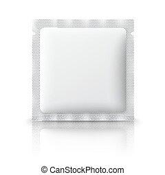 αλάτι , καφέs , σακκίδιο πούδρας , απομονωμένος , πλαστικός , φόντο. , μικροβιοφορέας , ναρκωτικό , φάρμακο , προφυλακτικό , κενό , ζάχαρη άχνη, άσπρο , αλάτι